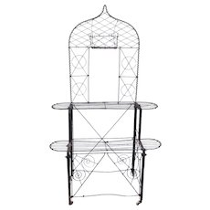 American Victorian Black Painted Wrought Iron Wire Two-Tier Plant Stand