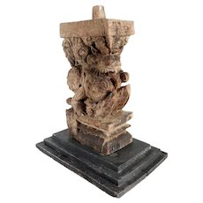 Indian Teak Vyala/Sardula Architectural Carving on Base