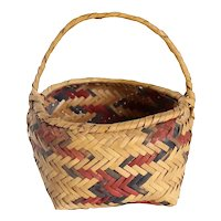 Small Native American Cherokee Dyed River Cane Top-Handle Basket