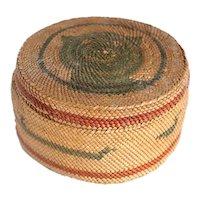 Small Native American Makah Polychrome Twined Bear Lidded Basket