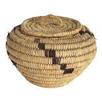 Vintage Native American Handmade Coiled Lidded Basket