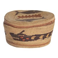 Native American Makah Northwest Coast Polychrome Pictorial Basket and Lid