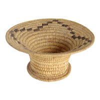 Vintage Native American Pima / Papago Round Coiled Flared and Footed Basket