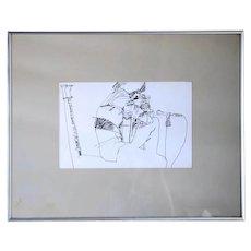 Vintage JON ZAHOUREK Ink Drawing on Paper, Rene Heredia in Concert