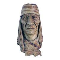 Vintage Signed Native American Hopi Carved Wood Novelty Figural Bottle Stopper