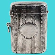 English Edwardian C T Burrows Birmingham Sterling Silver Vesta Case / Match Safe