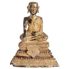 Small Thai Rattanakosin Period Gilt Bronze Buddhist Phra Malai Statue
