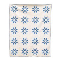 Vintage American Hand Stitched Blue, White and Yellow Star Pattern Quilt