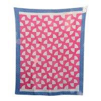 American Folk Art Red and Blue Handmade Quilt