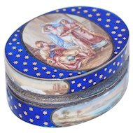 French Gilt Silver and Enamel Snuff Box