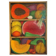 ALIX ROY Oil on Canvas Painting, Still Life Crate of Fruits and Vegetables