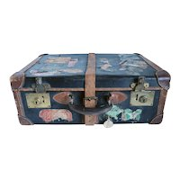 English Victorian Two-Tone Leather Suitcase with Travel Stickers