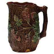 English Victorian Majolica Blackberry Bramble and Bark Pitcher