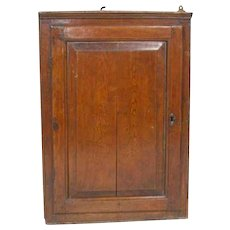 Small English George III Pine Hanging Corner Cabinet