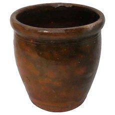 American Glazed Redware Pottery Crock