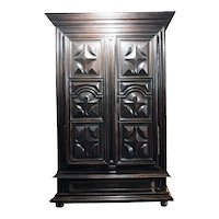 Large French Louis XIII Walnut Chateau Armoire
