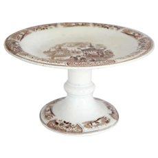 English Brown Transferware Pottery Compote