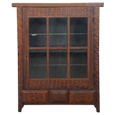 Small American Faux Grain Poplar Glass Door Side Cabinet