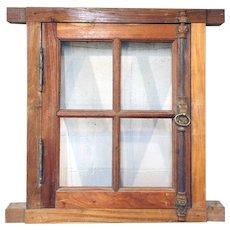Vintage Small Argentine Cedar Frame Window