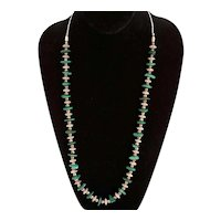 Vintage Southwest Silver, Silverplate and Malachite Bead Necklace
