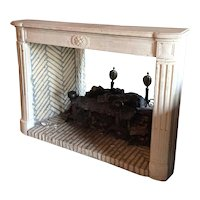 French Parisian Louis XVI Style Limestone Fireplace Surround