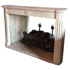 French Parisian Louis XVI Style Limestone Fireplace Surround