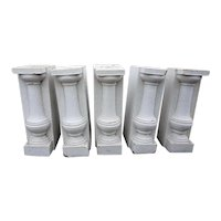 Set of Five American Belmar Mansion White Glazed Terracotta Architectural Balusters
