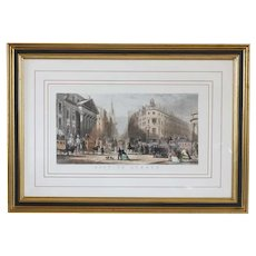 GEORGE CHAMBERS Colored Engraving, City of London, Mansion House, Poultry and Princes Street