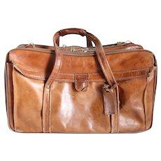 Vintage American Hartmann Luggage Brown Leather Weekender Bag