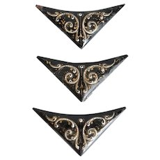 Set of Three French/Italian  Black Enamel on Copper Corner Mounts