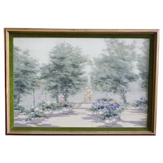 ANDRE GISSON Oil on Canvas Painting, Parisian Park Scene with Fountain