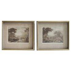 Pair CLAUDE LORRAIN Prints, Pastoral Scenes