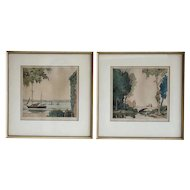 Pair of EDGAR L. PATTISON Color Prints, The Little Bridge and On the Orwell