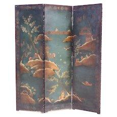 Italian/French Chinoiserie Hand Painted Fabric Three-Panel Screen