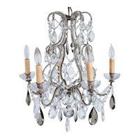 French Louis XV Revival Wrought Iron, Beaded and Crystal Six-Light Birdcage Chandelier