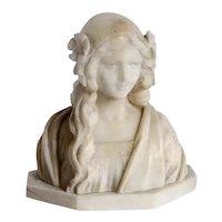 Italian FRATELLI MASI Art Nouveau Alabaster Bust of a Maiden