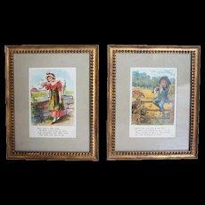 Pair of American Chromolithograph Nursery Rhyme Book Illustrations 1908