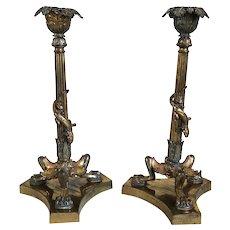 Pair of French Napoleon III Gilt Bronze Lizard Candlesticks