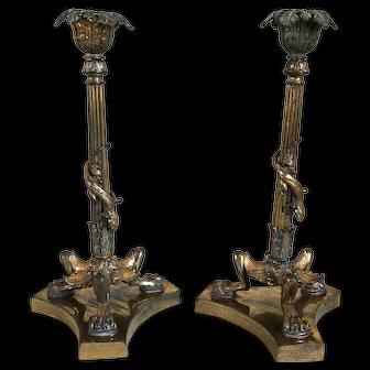 Pair of French Louis XVI Style Gilt Bronze Lizard Candlesticks