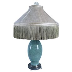 Edward I. Farmer Chinese Ming Longquan Celadon Porcelain Two-Light Table Lamp