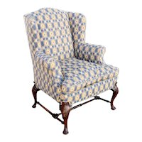 Queen Anne Style Mahogany Upholstered Wingback Armchair