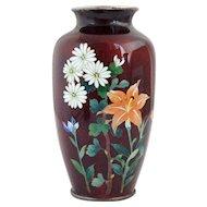 Japanese Pigeon Blood Cloisonne Enamel Vase