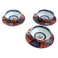 Vintage Set of Three Japanese Imari Porcelain Tea Cups and Saucers