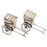 Pair of Vintage Japanese Sterling Silver Rickshaw Cart Salt and Pepper Shakers