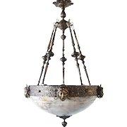 Argentine Alabaster Bowl Hanging Pendant Light