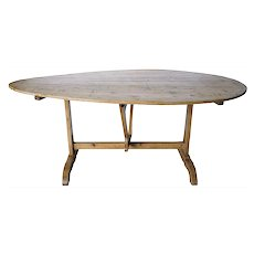 Large French Provincial Pine Trestle Tilt-Top Oval Wine Tasting (Vendage) Table