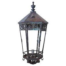 Large American Cast Iron and Bronze Hexagonal Street Light Lantern