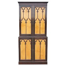English Gothic Revival Stained Oak and Satinwood Stepback Cabinet