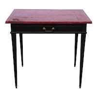 Small French Louis XVI Japanned Oak and Red Leather Top Desk