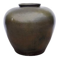 Large Chinese Dark Green Glaze Pottery Wine Pot